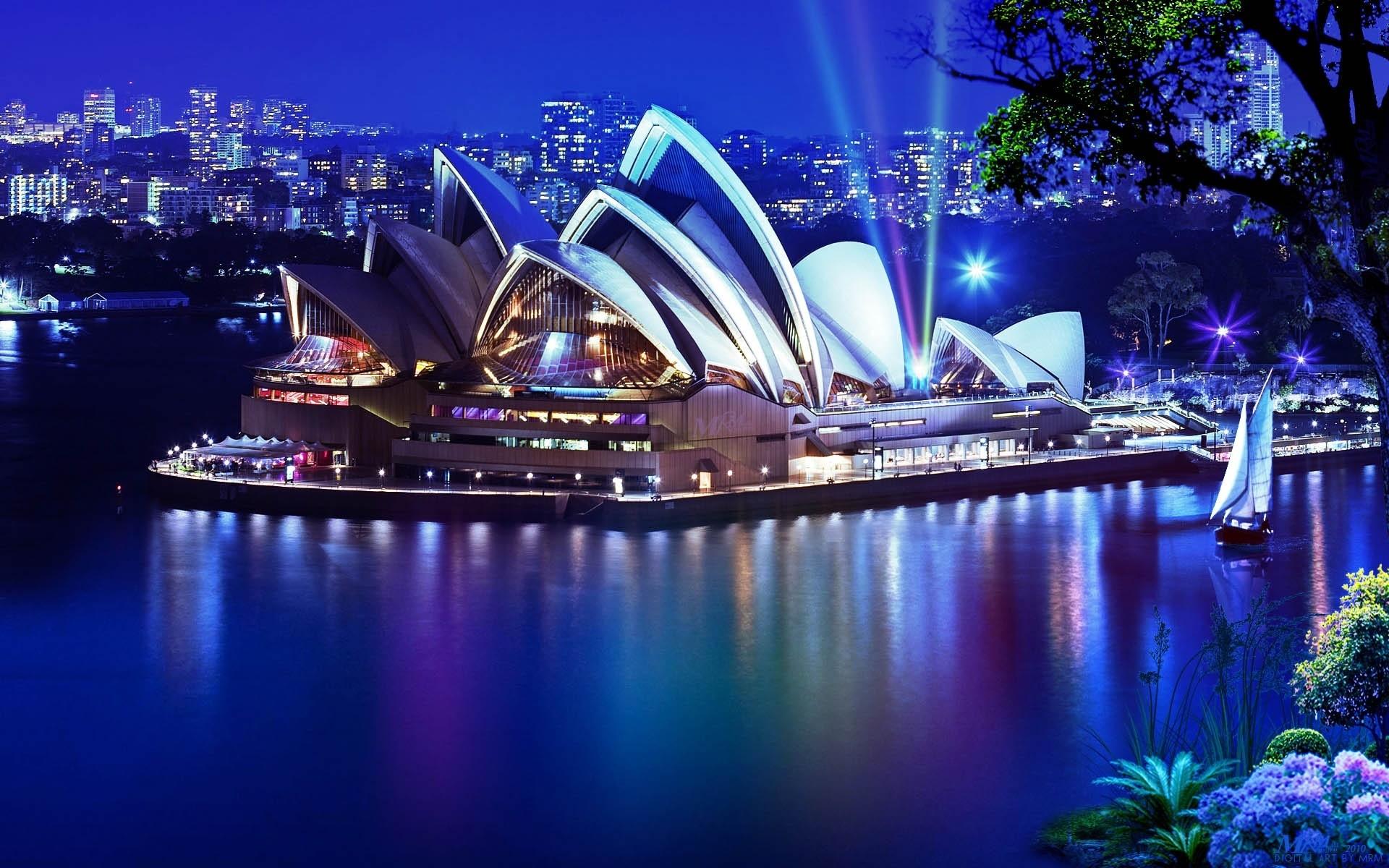 Сидней Австралия архитектура страны море ночь бесплатно